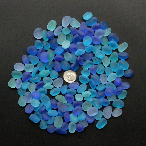 top drilled sea beach glass 20 pcs lot blue aqua cobalt pendant jewelry use