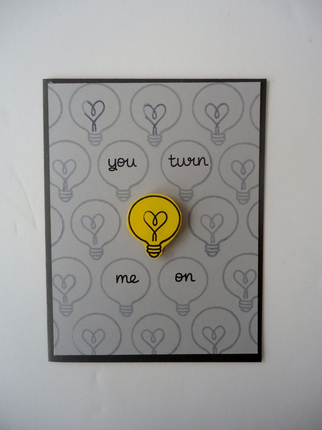 Love scrapbook ideas girlfriend - You Turn Me On Card Love Anniversary Funny And Sweet Handmade Light Bulb Heart Card For Boyfriend Girlfriend Husband Wife By Justforunotes On