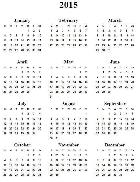Free Printable Yearly Calendar 2015 Idealstalist