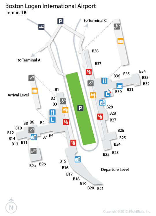 bos airport terminal map Bos Logan International Airport Terminal Map Logan bos airport terminal map