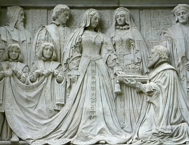 Frieze depicting Lady Jane Gray accepting the Crown, Middlesex Guildhall, London.