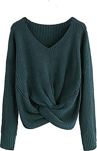 New Milumia Twisted Sweater Tops Long Sleeves Fall Winter Loose Fit Shirts Aqua online shopping - Chictopclothing
