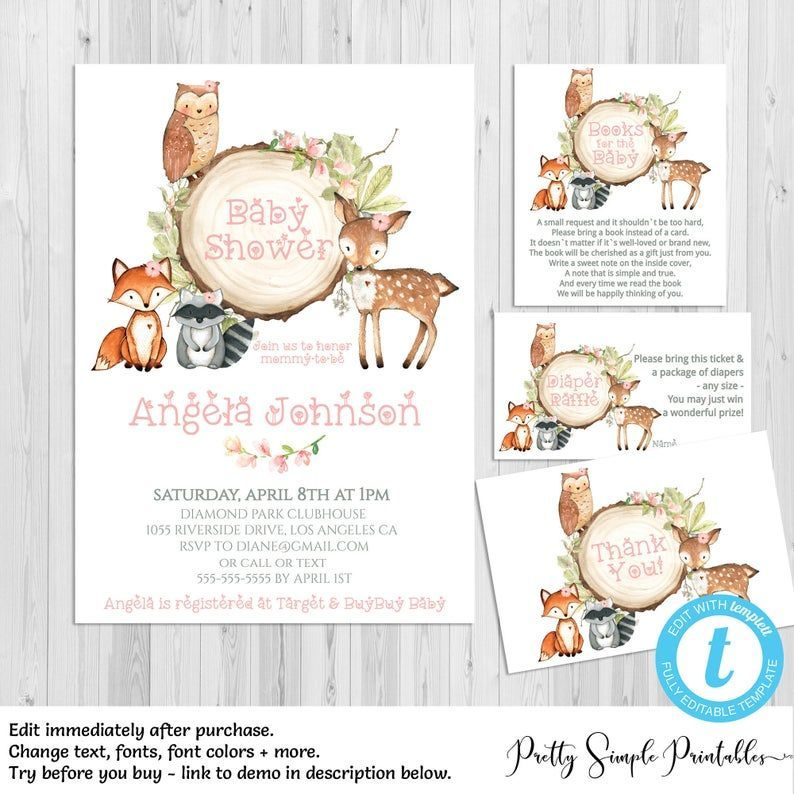 Woodland Baby Shower Invitation Girl, Floral, Deer Baby Shower Invites, Woodland Animals, Editable Template, Thank, Diaper Raffle Books WD05 -  Woodland Baby Shower Invitation Girl Floral Deer Baby Shower | Etsy  - #Animals #BABY #BabyShowersfille #BabyShowersides #BabyShowersparties #BabyShowerstable #BabyShowersvaron #books #Deer #diaper #Editable #Floral #girl #Invitation #invites #Raffle #rusticBabyShowers #SHOWER #Template #WD05 #Woodland #woodlandBabyShowers