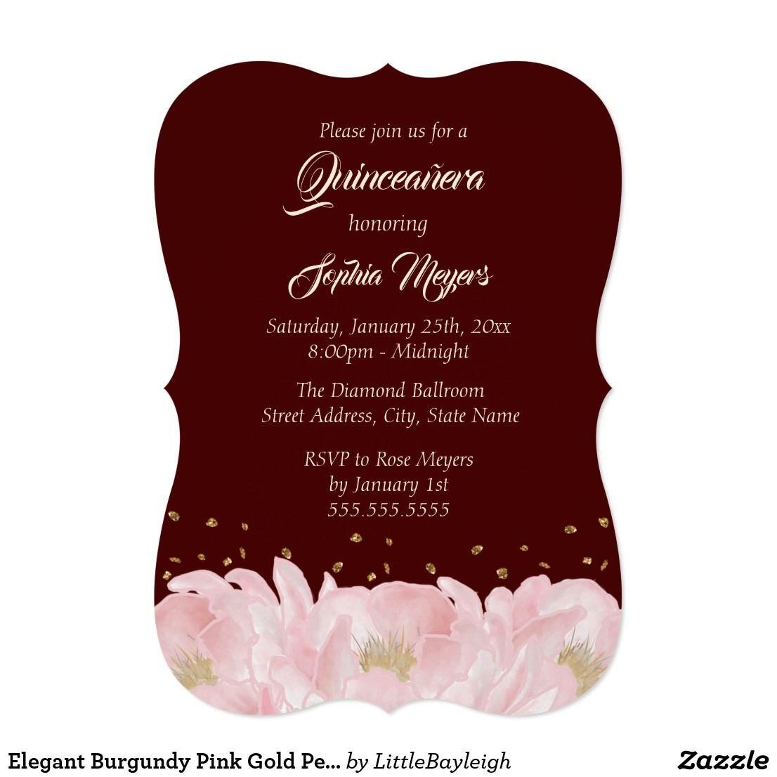 Elegant Burgundy Pink Gold Peony Quinceanera Invitation ...