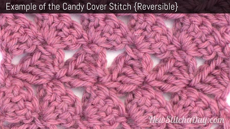 Example of the Candy Cover Stitch. (Reversible) | Knitting ...