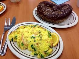 Breakfast: Omlette with Bagel and Brownie....