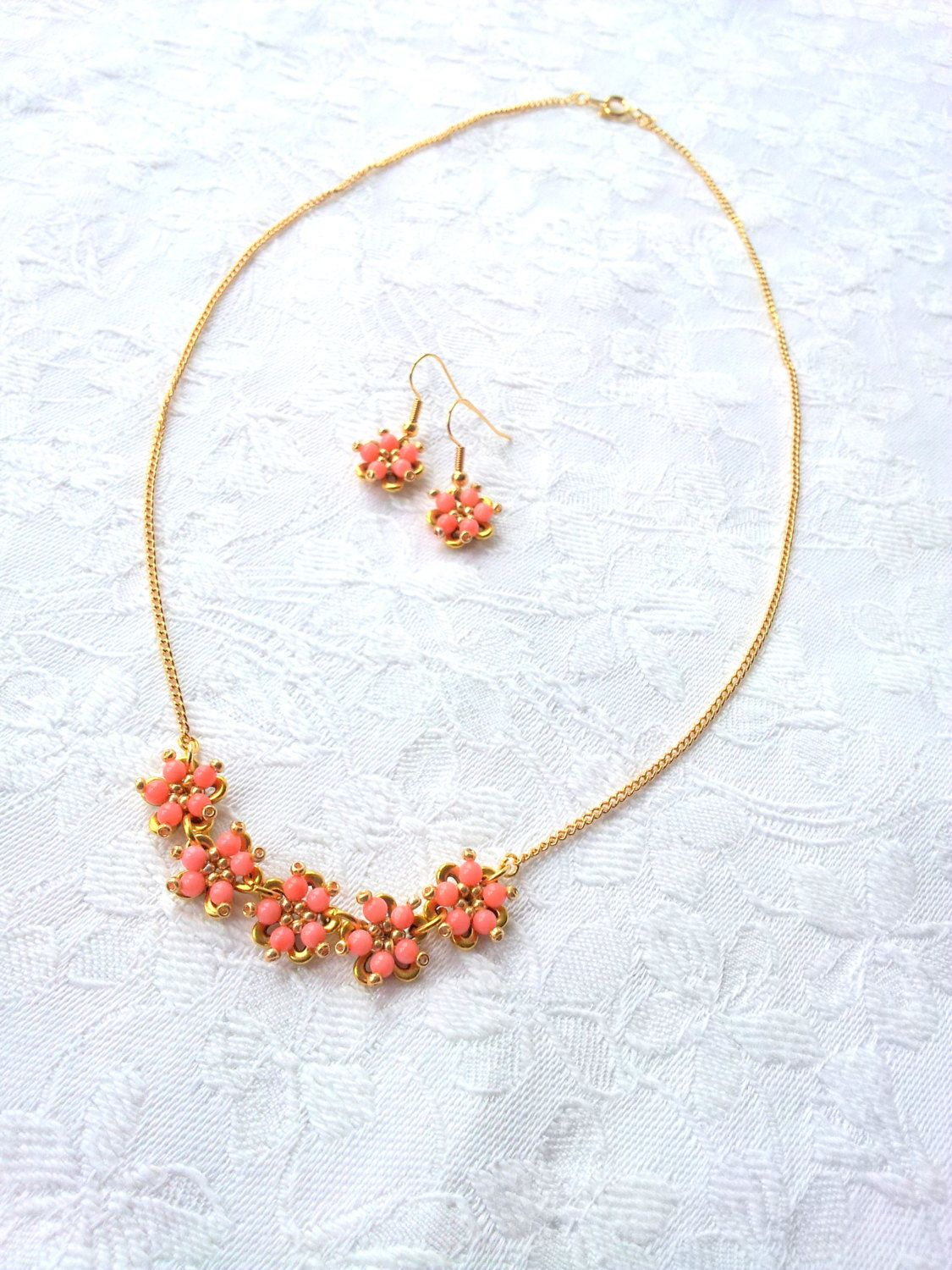 Beaded coral flower necklace set flower bead cap flower necklace