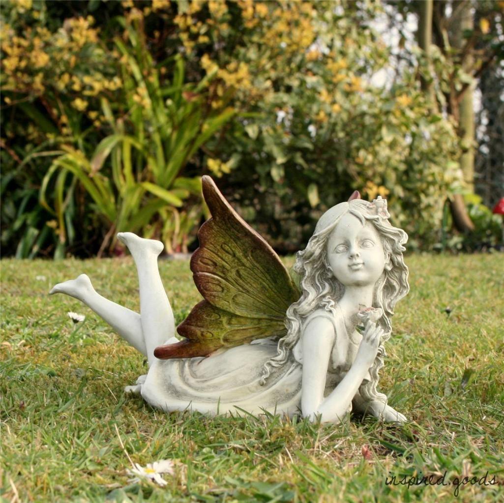 Large Magical Fairy Garden Ornament Faerie Stone Effect Statue Angel Figurine Fairy Garden Ornaments Dream Garden Garden Stones