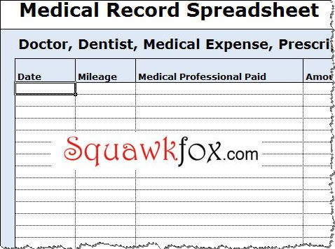 Medical Expense Tracking Spreadsheet  Medical Binder And Sample