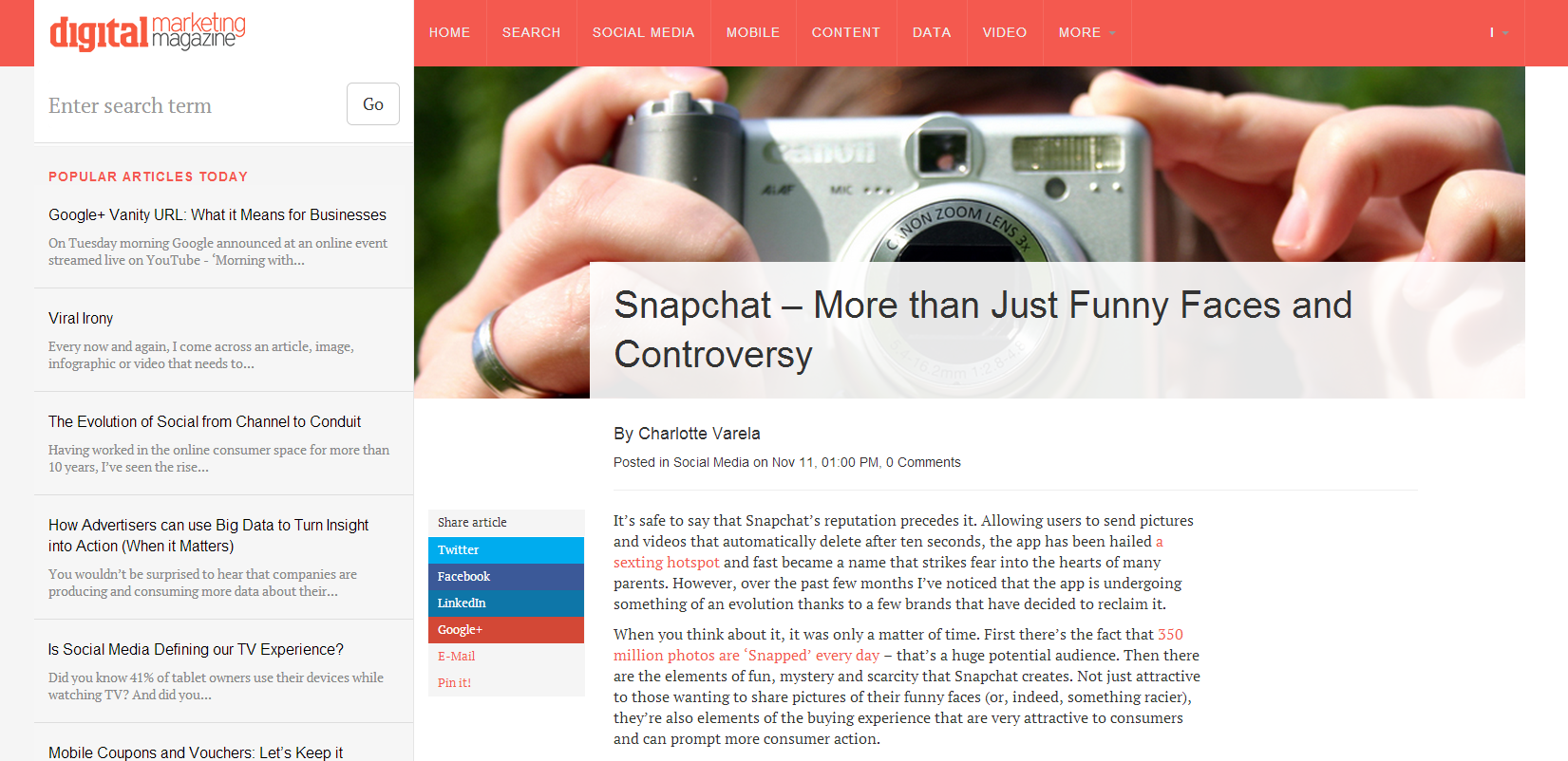 #Snapchat – More than Just Funny Faces and Controversy, as seen on Digital Marketing Magazine. #socialmedia