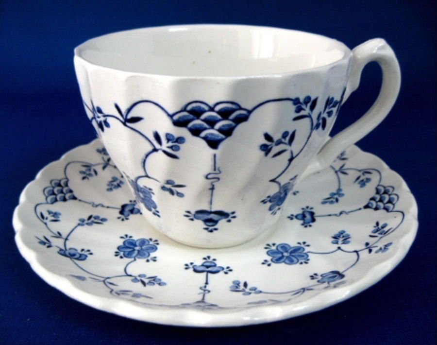 Finlandia Cup And Saucer Blue And White Ironstone Vintage Myott 1940s