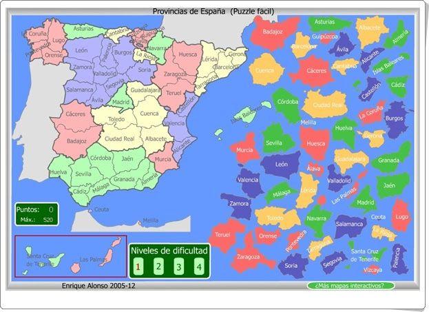 Mapa Flash Provincias Espana.Puzzle De Provincias De Espana Mapa Interactivo Mapa De Espana Geografia Mapas