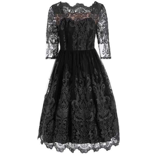 34.63$  Buy now - http://dip5l.justgood.pw/go.php?t=204627505 - Mesh Embroidered Scalloped Dress 34.63$