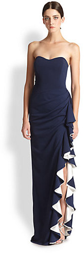 4fdc9ce8b321 Badgley Mischka Strapless Contrast Ruffle Gown...so elegant. | My ...