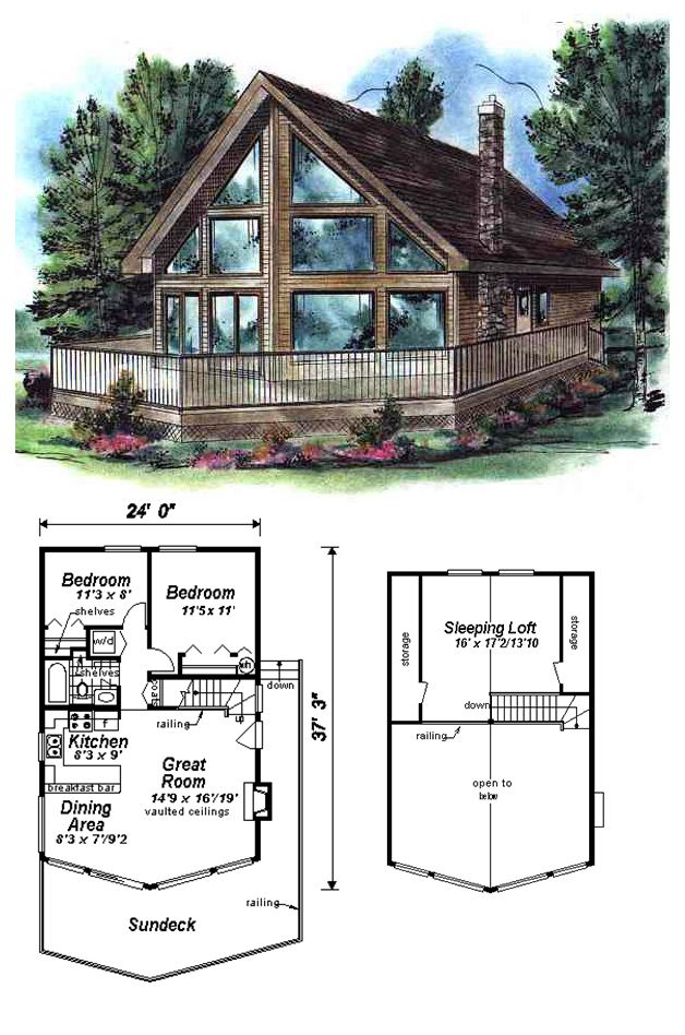 Contemporary Style House Plan 58502 With 3 Bed 1 Bath Lake House Plans Cabin House Plans A Frame House Plans
