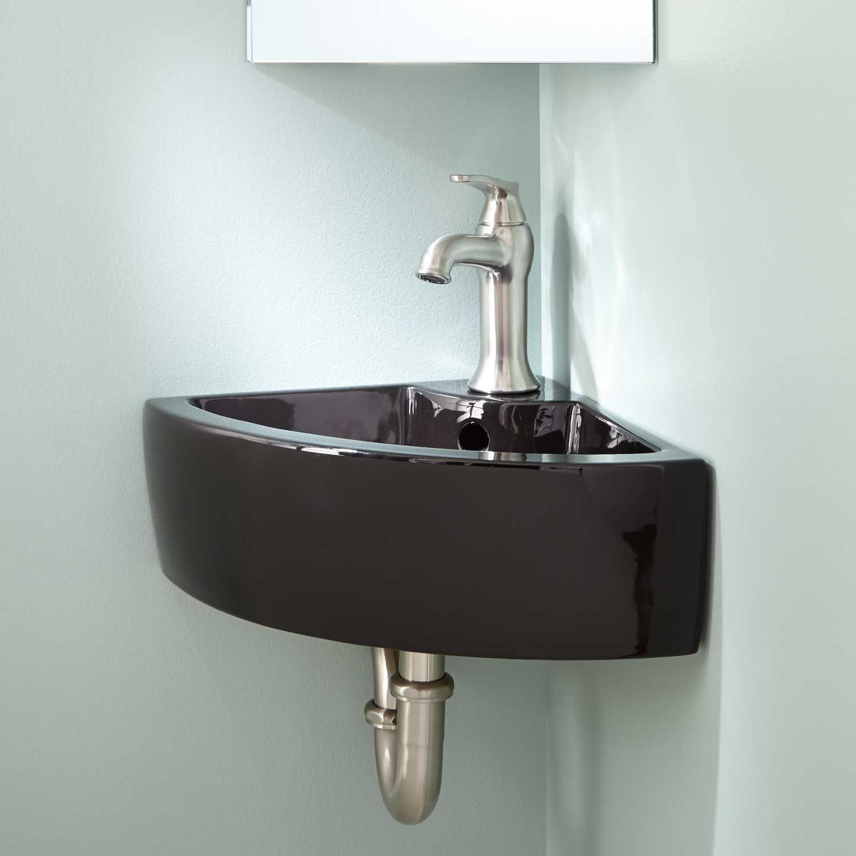 Amelda Porcelain Wall Mount Corner Bathroom Sink