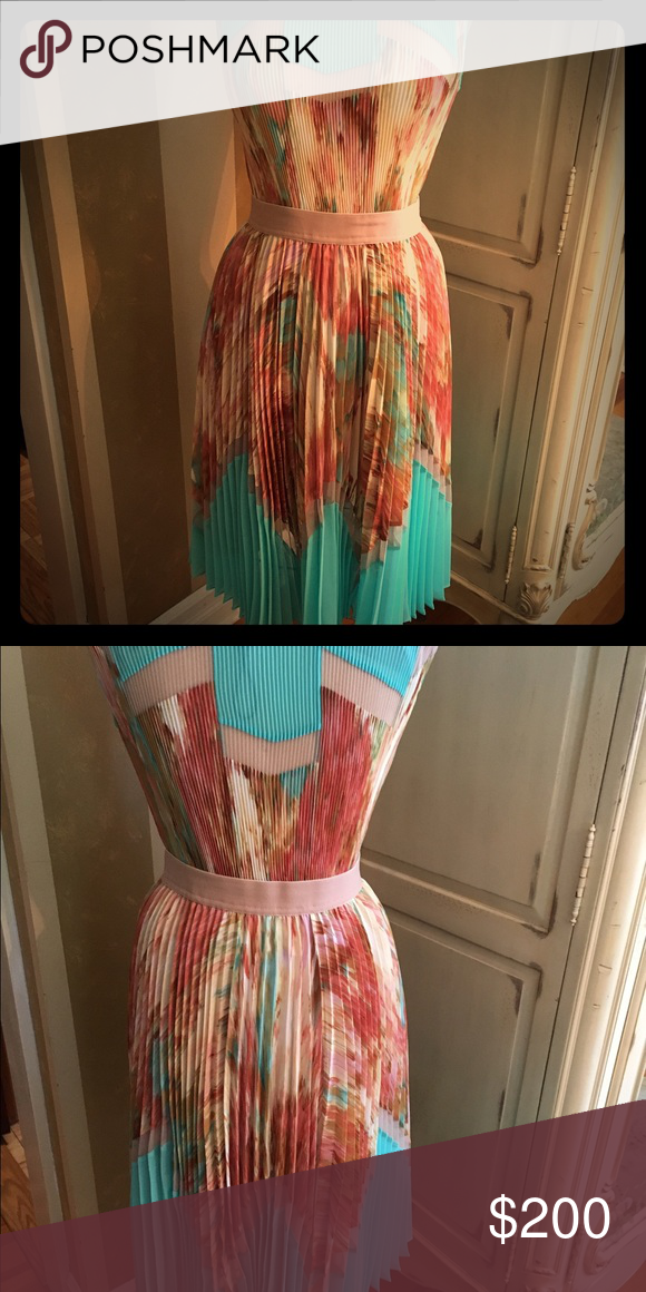 Dress Flame print, accordion pleat dress with fitted waistband. Sleeveless. Everything about this dress is perfect. The color and the fit are just fabulous. BCBG Dresses Midi