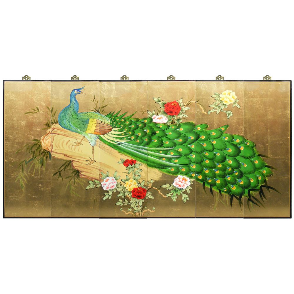 Gold Leaf Hand Painted Peacock Wall Plaque. In Chinese culture, the ...