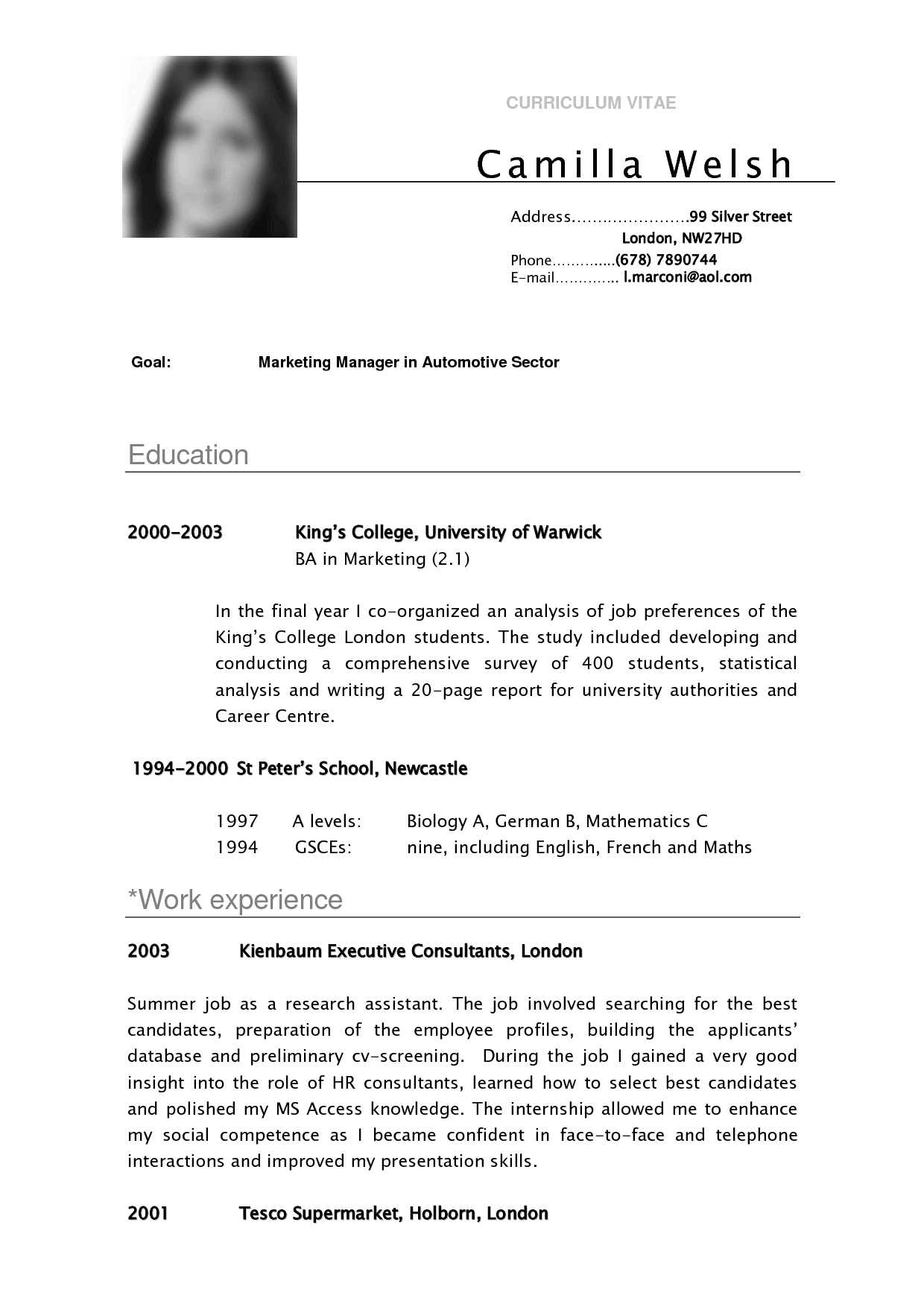CV SAMPLE CURRICULUM VITAE Camilla for school