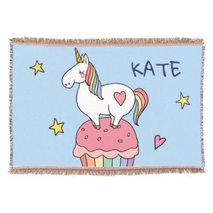 Kawaii Cute Doodle Rainbow Unicorn And Stars Throw Blanket Simple Kawaii Throw Blanket