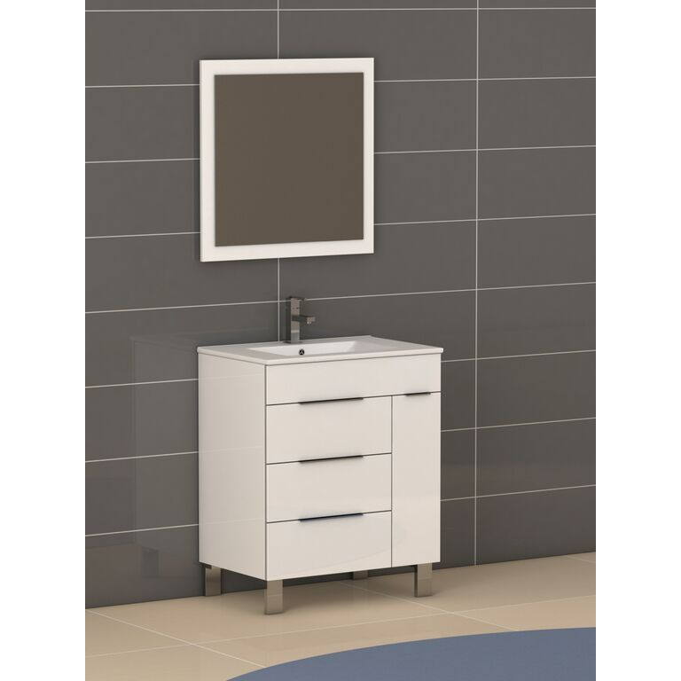 Eviva Geminis® 28 Inch Modern Bathroom Vanity With Integrated Porcelain Sink