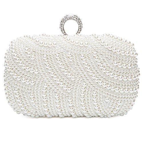 6e5b9bc372f Oferta: 32.99€ Dto: -45%. Comprar Ofertas de Bolsa de Embrague para Fiesta  Boda Novia Bolso de Mano Nupcial Diseño con Perlas Wedding Bag Cartera  billetera ...