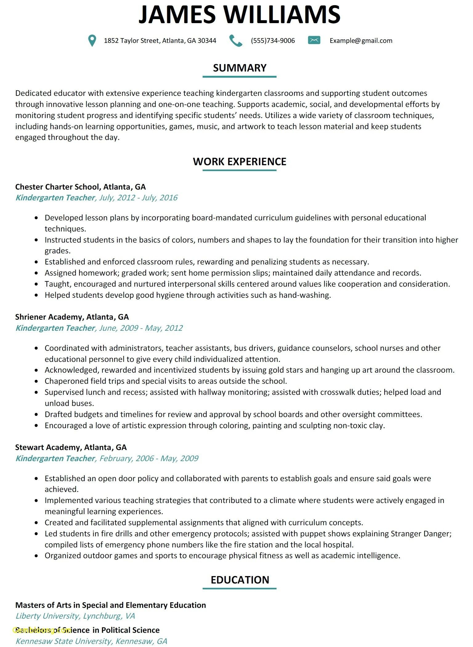 Resume Format Kindergarten Teacher With Images Teaching Resume