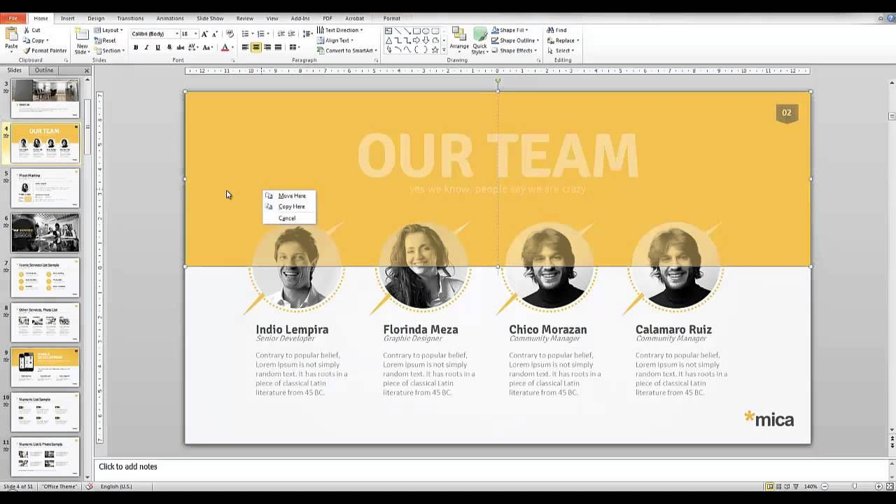 mica powerpoint presentation template | design inspired, Presentation templates