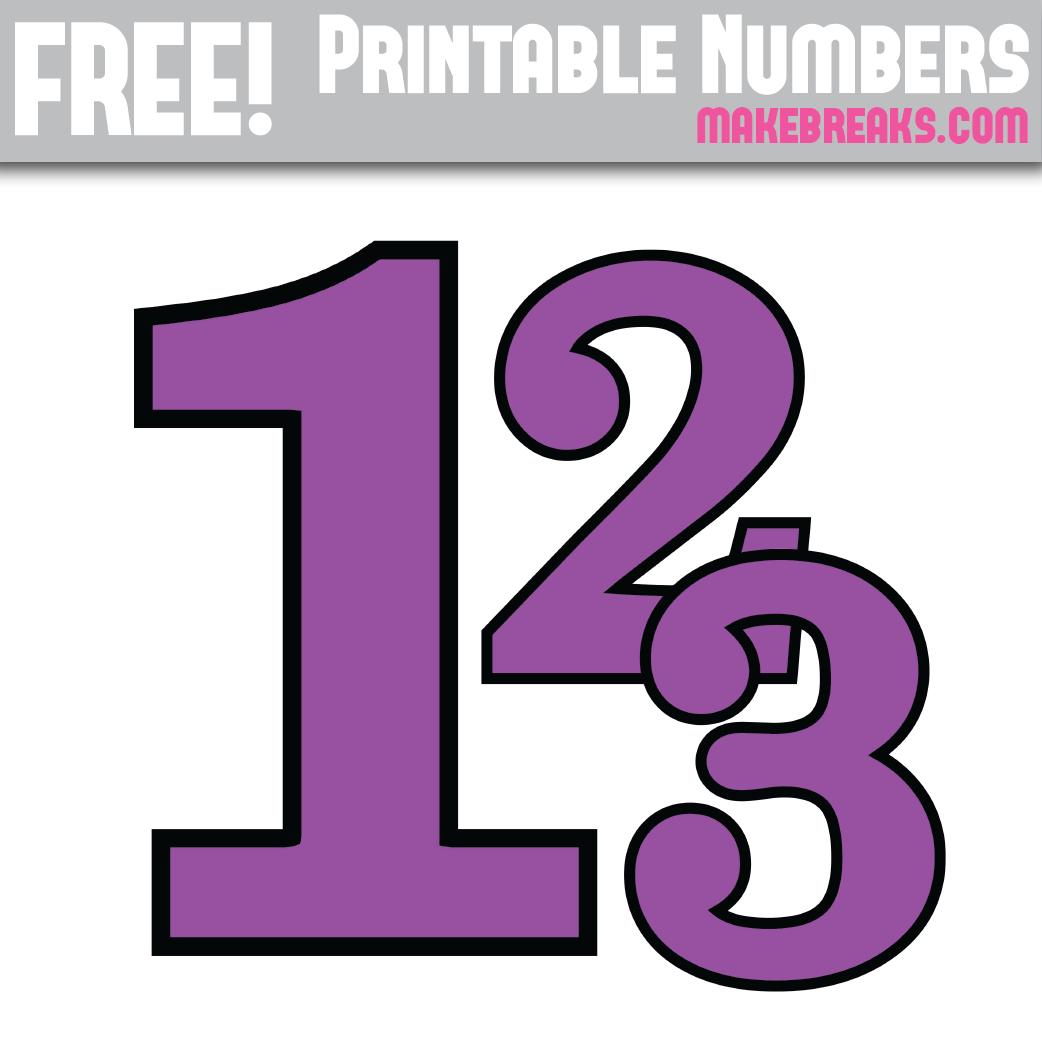 Free Purple With Black Edge Printable Numbers 0 9 Make Breaks Printable Numbers Free Printable Letters Letters