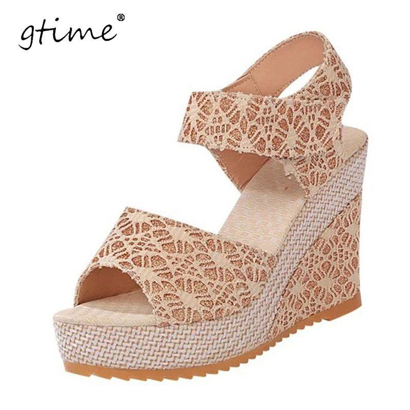 GTIME Women Sandals 2017 Summer New Open Toe Fish Head Fashion platform  High Heels Wedge Sandals Female Shoes Women Shoes  ZWS60  Affiliate b67d0050d16a