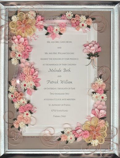Framed Wedding Announcement - by: an Unknown Quilling Artist ...