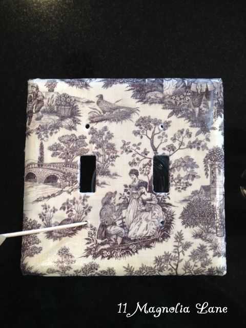Easy Inexpensive Decoupaged Light Switch And Outlet Covers Light