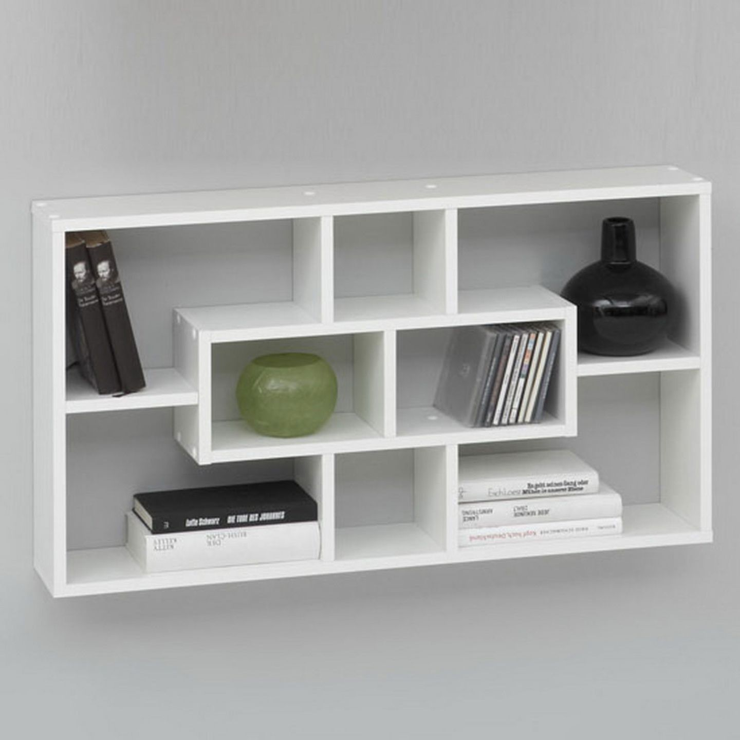 Le Bookcase Wall Shelves In White With 8 Compartments 6629 Home Office Storage A Wide Range Of Styles From Furniture Fashion
