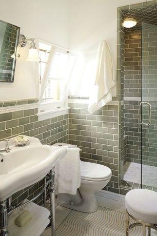 Traditional 3/4 Bathroom with three quarter bath, ceramic tile ...