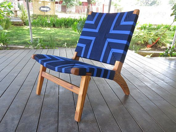 Best Handwoven Blue Pattern Lounge Chair Mid Century Modern 400 x 300