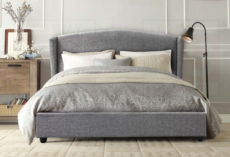 Queen Size Fabric Wing Bed Frame Tribecca Collection Space Grey