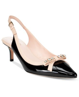 f253f14feb4f An embellished bow and pointed toe come together in stunningly elegant  style on kate spade new york s Palina slingback pumps.