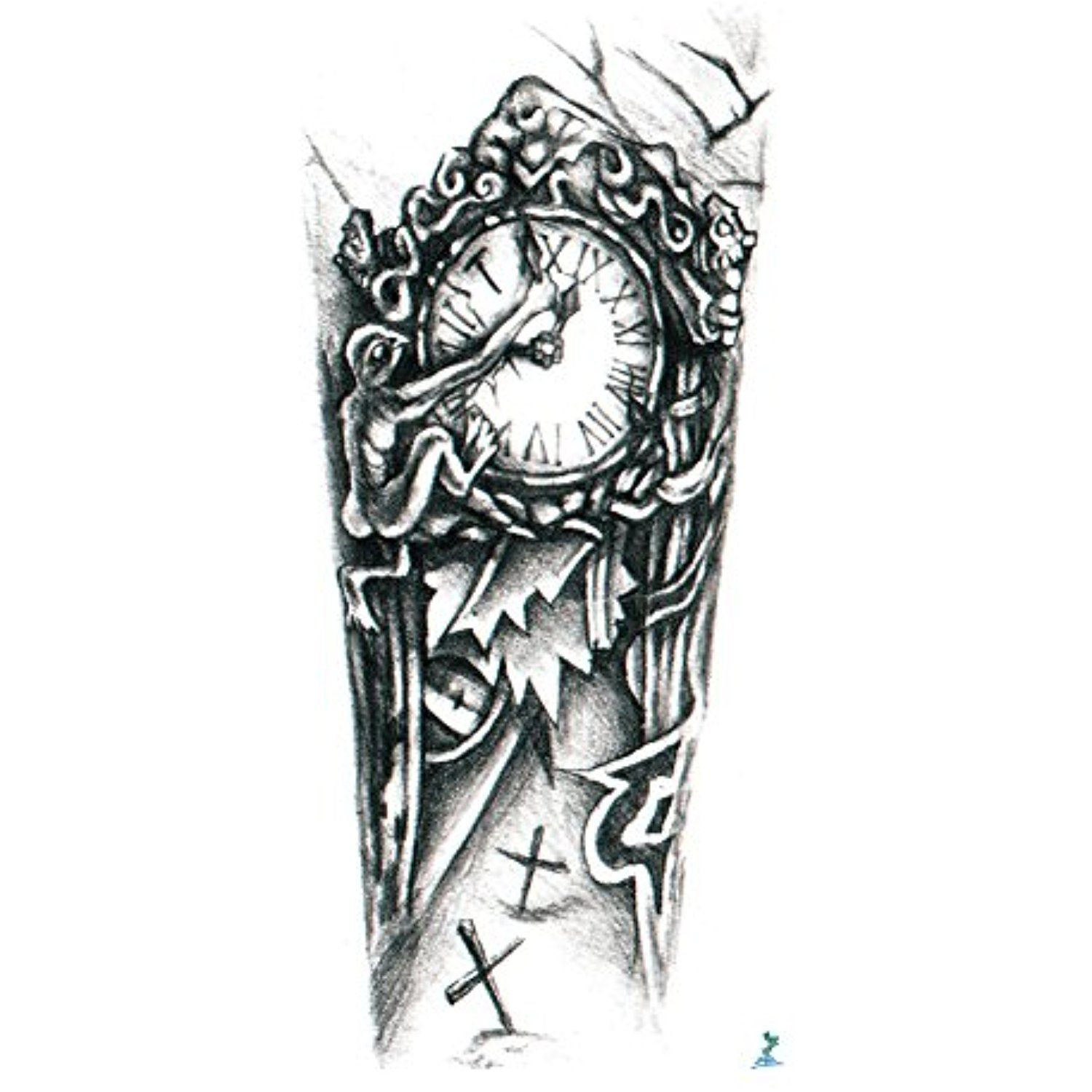 Yeeech Temporary Tattoo Sticker Paper 3d Machine Clock Cross For Arm Want To Know More Click On The Image This Mechanic Tattoo Tattoo Stickers 3d Tattoo