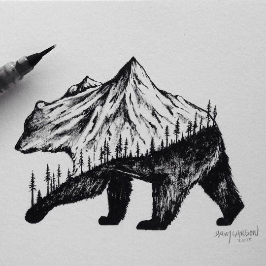 California Bear Mountain Trees Incredible Ink Desenhos Novos