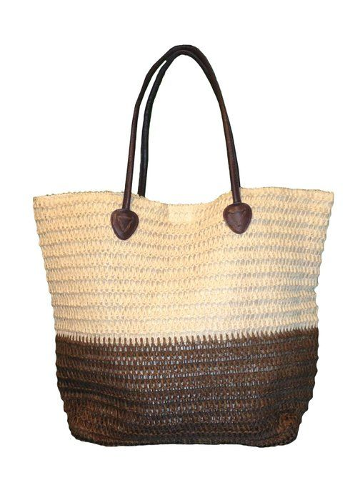 14c15d0cf18 Large 2 Tone Crocheted Straw Beach Bag Tote (Natural-Brown) | Living ...