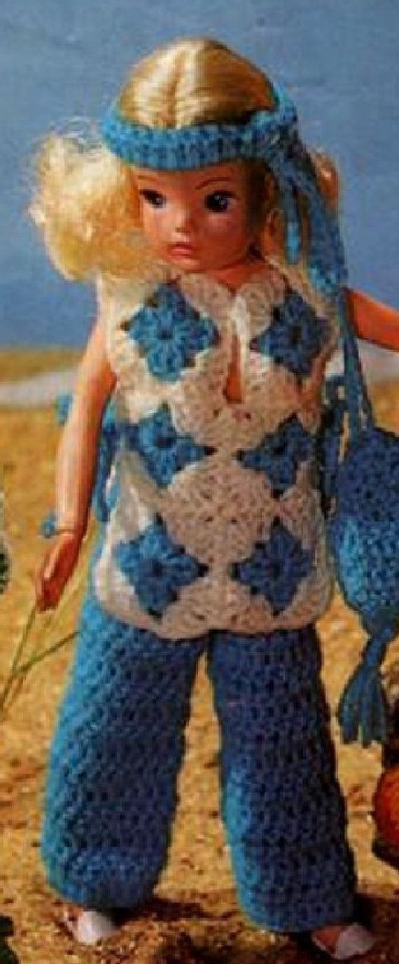 VINTAGE crochet pattern pdf, Sindy doll clothes at the beach dolls ...