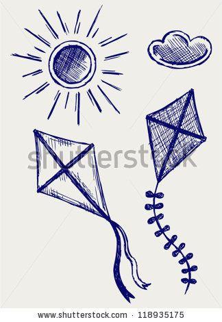 Kites In The Sky Doodle Style Ilustracao Vetor Stock 118935175