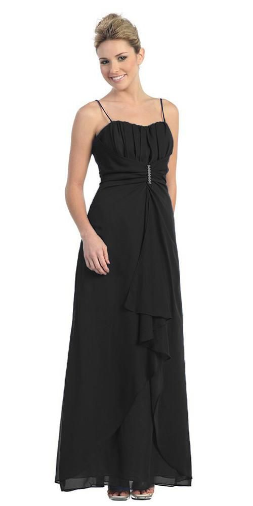 CLEARANCE - Spaghetti Strap Black Semi Formal