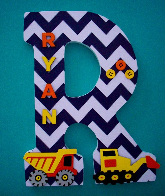 Construction trucks wood letters wall letter nursery for Kids name letters
