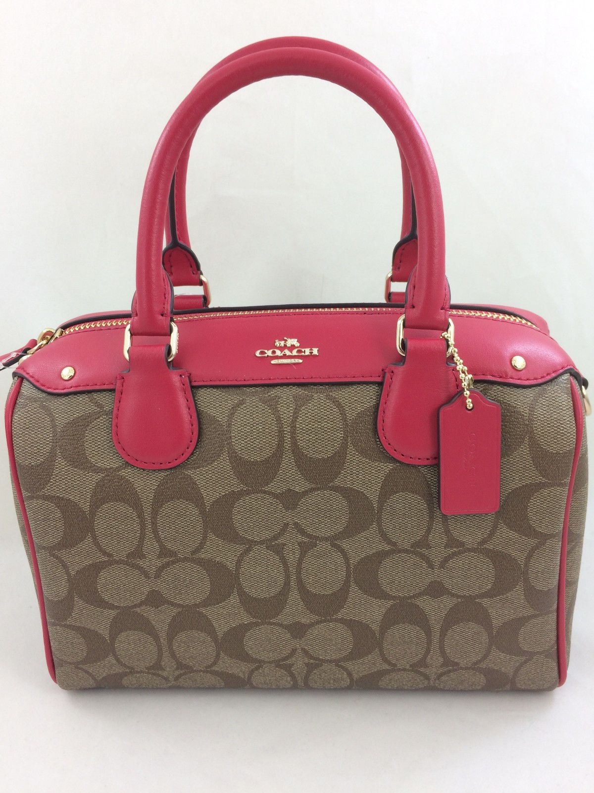 61187b0062ee3 New Coach F58312 F36702 Mini Bennett Satchel Handbag Purse Shoulder Bag PVC  Pink