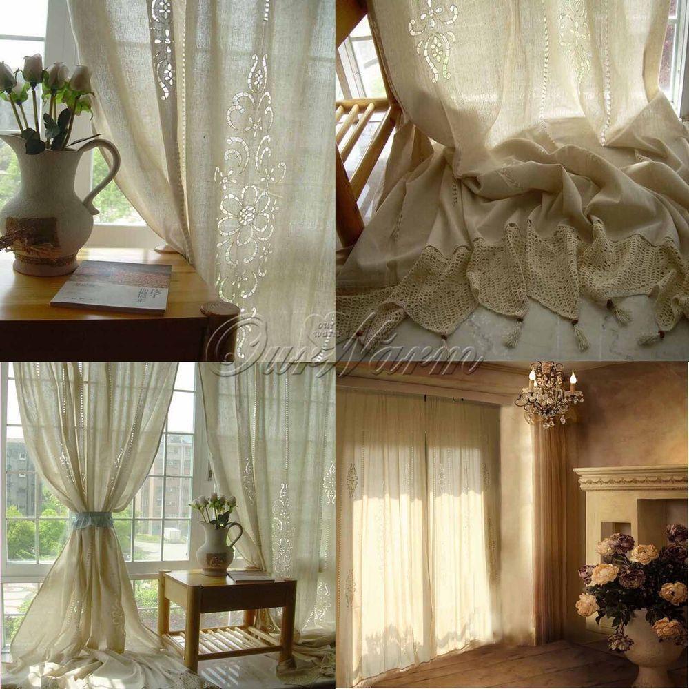 Cotton Linen Window Curtains Lace Drape Crochet Curtain Bedroom