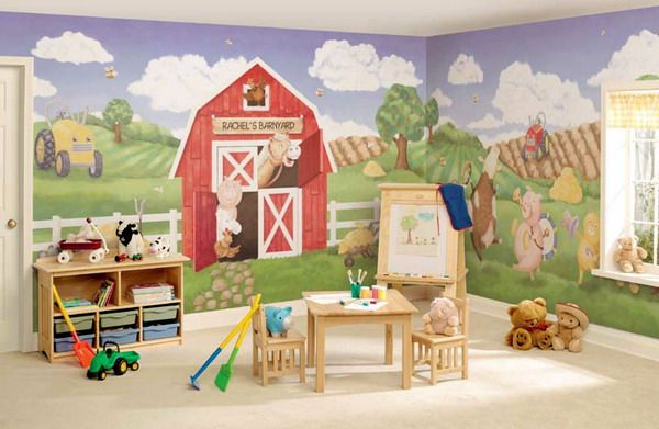Nice House Mural | Kids Room Murals U2013 Kids Room Farm Wall Mural Ideas Picture  [600x391 .