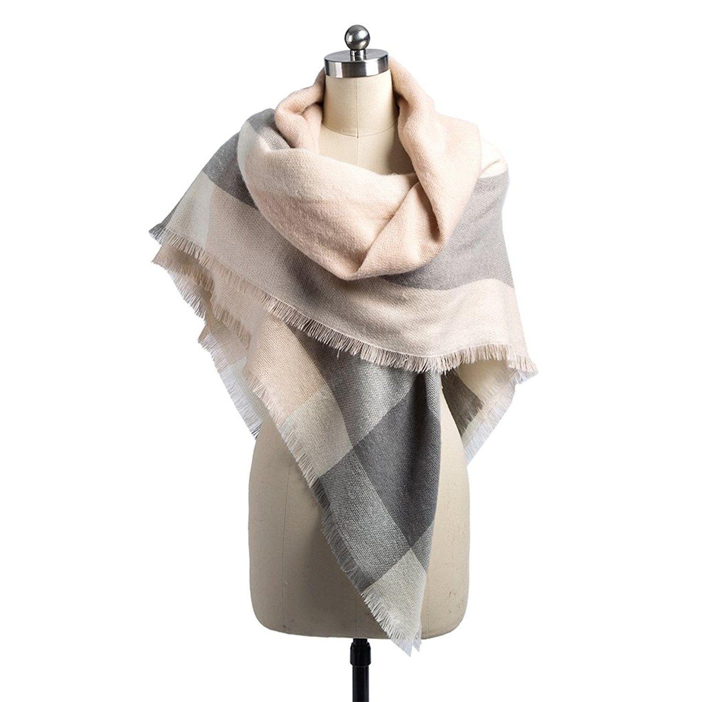 3d51193133169 Women Plaid Blanket Scarf Winter Warm Large Soft Scarf Tassel Pashmina Shawl  Wrap Black - Pink Grey - C4187Y703E9 - Scarves & Wraps, Fashion Scarves ...