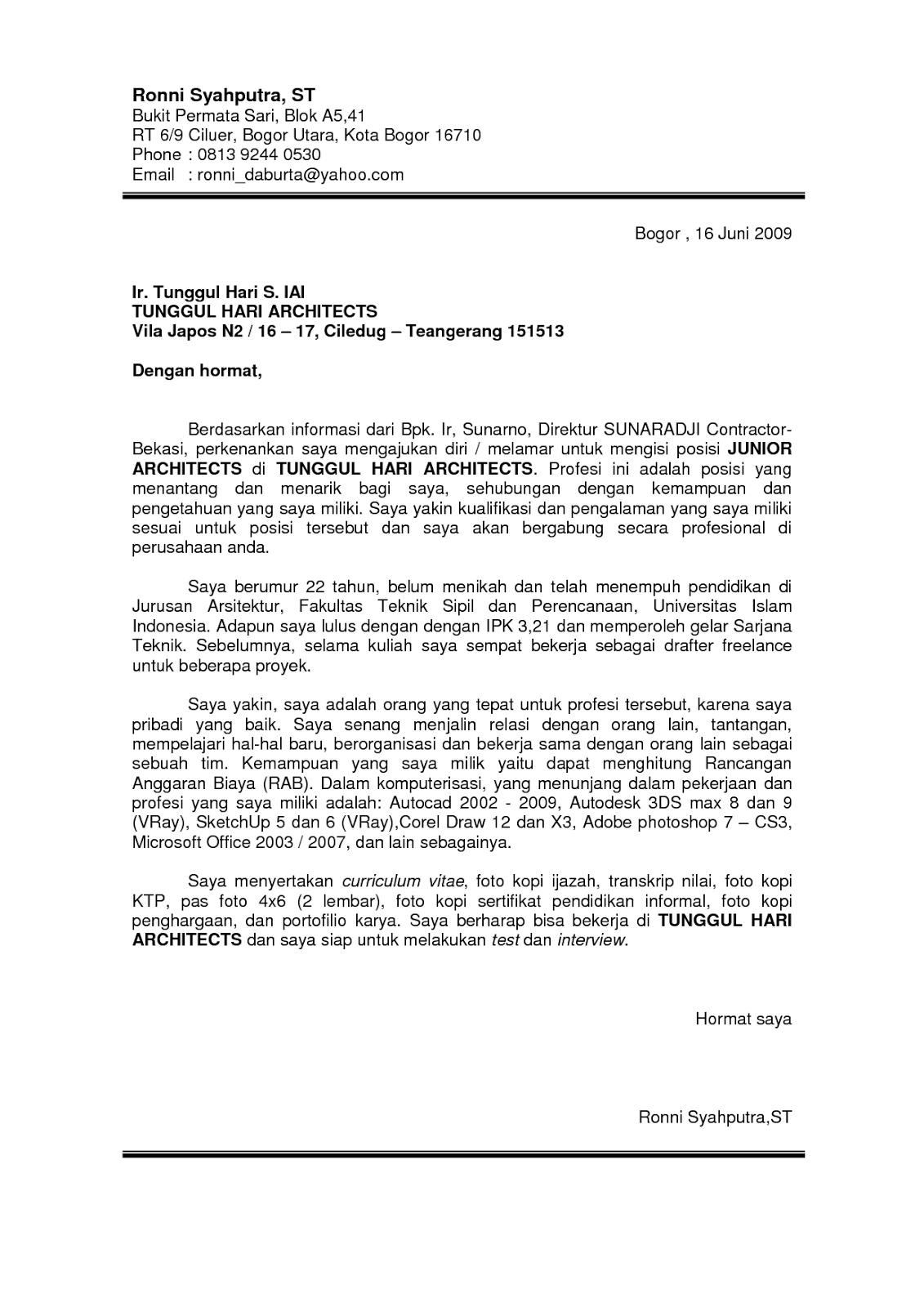 Surat Lamaran Kerja Teknik Sipil Education