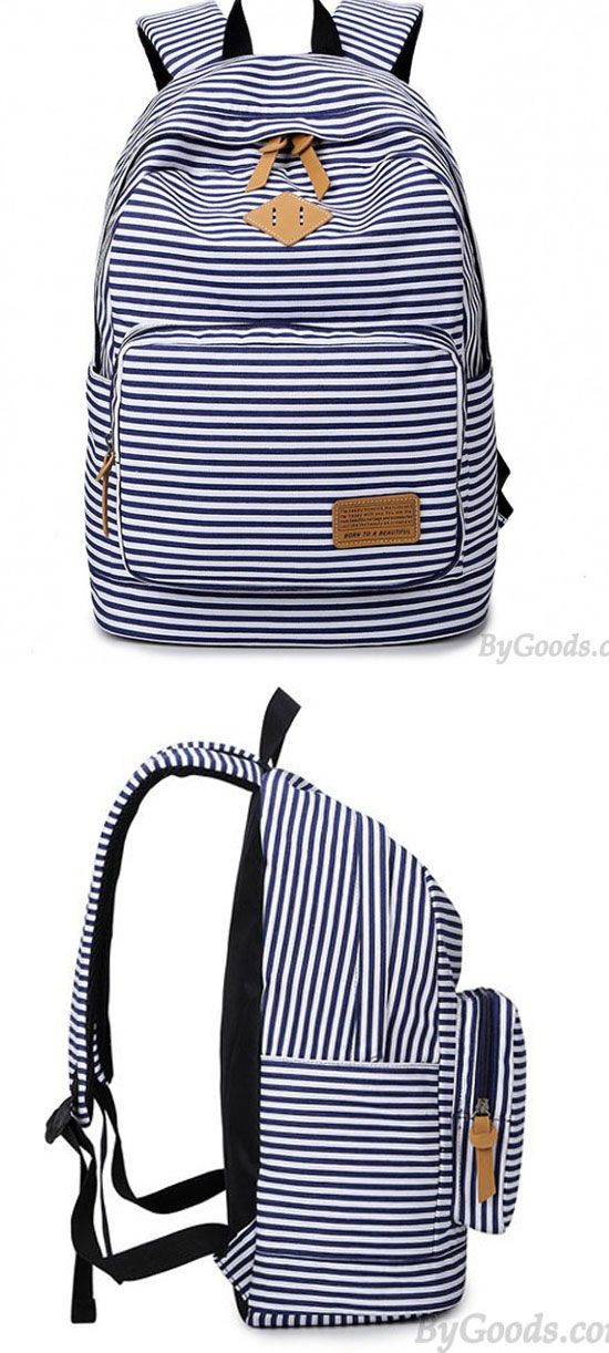 Summer Striped Leisure Canvas Backpack for big sale !  leisure  canvas   summer  backpack 00a3ff45108d4